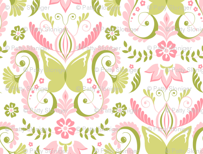 Butterfly Damask - Pink/Lime