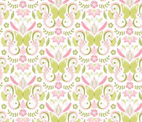Butterfly Damask - Pink/Lime fabric by pattysloniger on Spoonflower - custom fabric