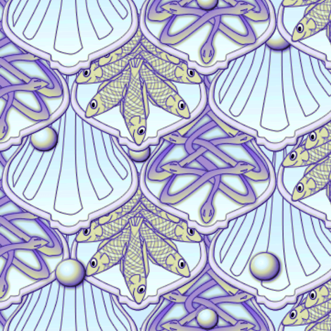 © 2011 Mermaid's Wedding Feast  amethyst gold fabric by glimmericks on Spoonflower - custom fabric