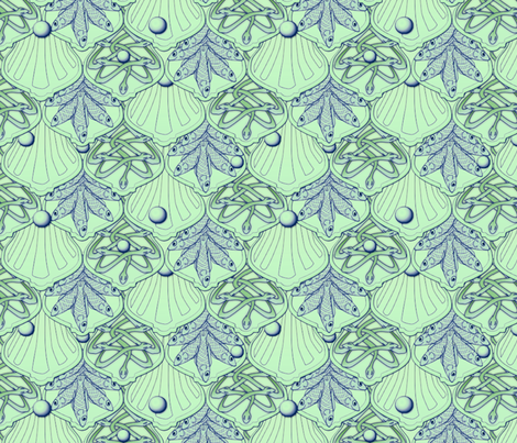 © 2011 Mermaid's Wedding Feast Aqua fabric by glimmericks on Spoonflower - custom fabric