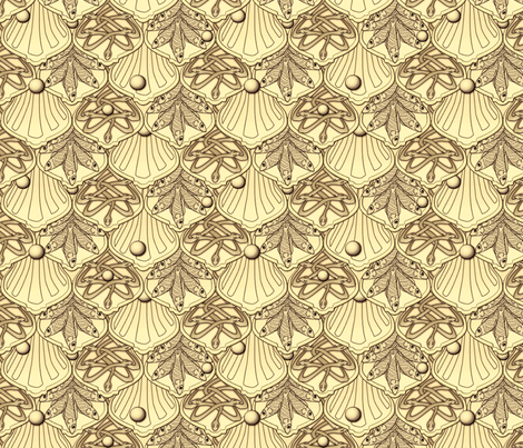 © 2011 Mermaid's Wedding Feast Gold fabric by glimmericks on Spoonflower - custom fabric