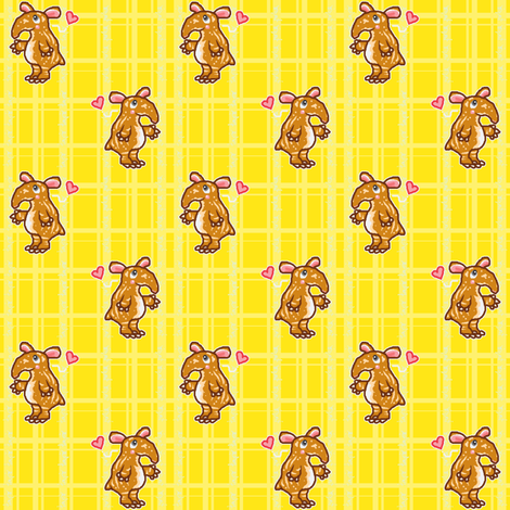 Tapir Love (yellow) fabric by mikka on Spoonflower - custom fabric