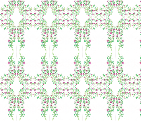 pink_rose_plant_drawing_scan fabric by vinkeli on Spoonflower - custom fabric