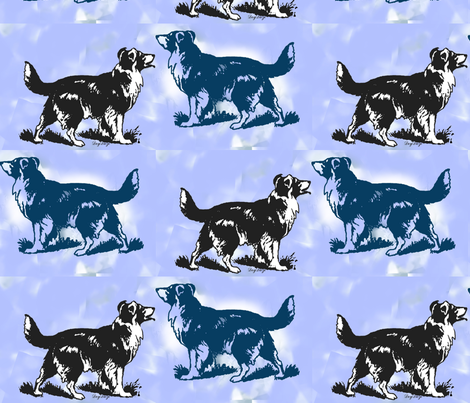 border collies on blue fabric by dogdaze_ on Spoonflower - custom fabric