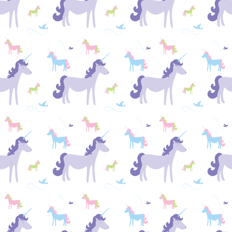 unicorns_multi color with birds fabric by wendyg on Spoonflower - custom fabric