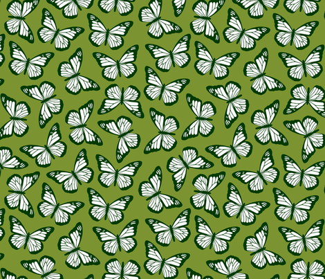 butterflies in greens fabric by bubbledog on Spoonflower - custom fabric
