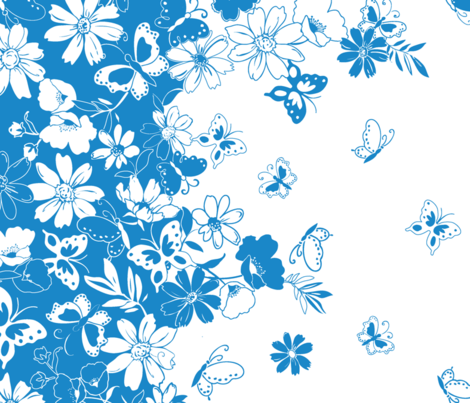 ButterflyDaisyBorder fabric by thornbirds on Spoonflower - custom fabric