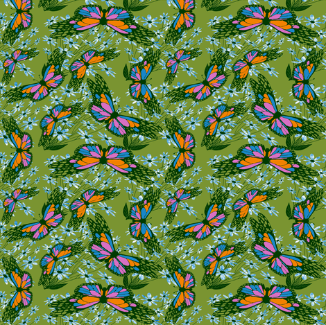 ANewLovelyBug3-Redo3Blue fabric by grannynan on Spoonflower - custom fabric