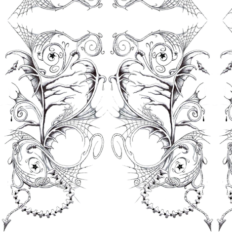 Tattooed Evilween fabric by winoart on Spoonflower - custom fabric