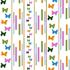 five colour butterflies