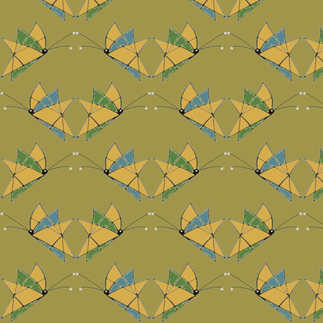 Green_Wing__Blue_Wing fabric by david_kent_collections on Spoonflower - custom fabric