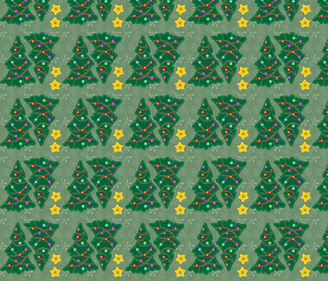 ©2011 Tiny Christmas Trees (4 per swatch) fabric by glimmericks on Spoonflower - custom fabric