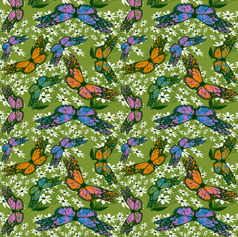 AMagicButterflyWhiteDaisy-ch fabric by grannynan on Spoonflower - custom fabric