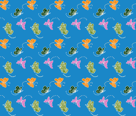 Flutterbies On Blue fabric by bargello_stripes on Spoonflower - custom fabric