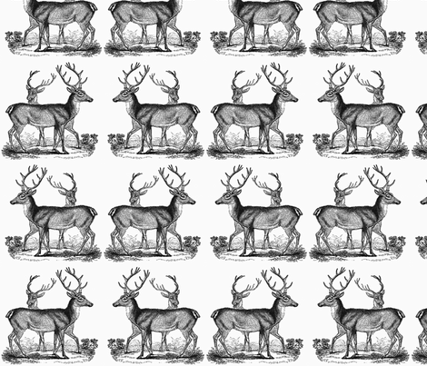 Vintage Deer-- Black fabric by icarpediem on Spoonflower - custom fabric