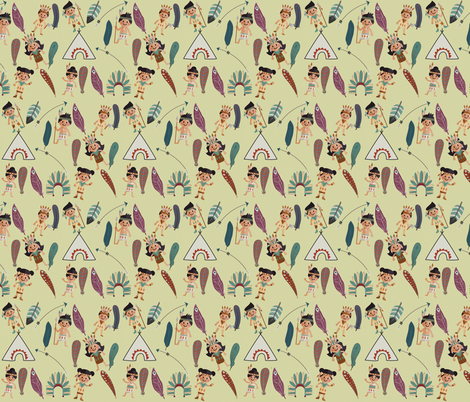 Little Indians  fabric by icarpediem on Spoonflower - custom fabric
