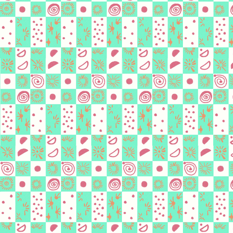 Alien checkers fabric by su_g on Spoonflower - custom fabric