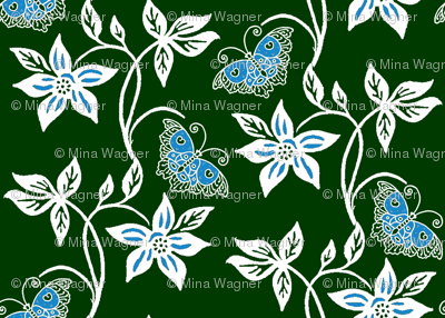 Midnight Garden - Blue Butterflies & Flowers Virtual Batik