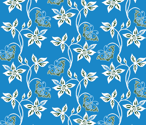Blue Butterflies & Flowers Virtual Batik_bright blue