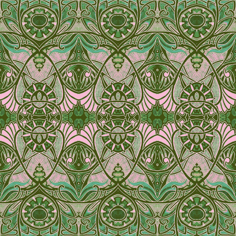 Victorian Gothic (olive and pink) fabric by edsel2084 on Spoonflower - custom fabric
