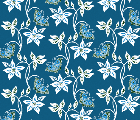 Blue Butterflies & Flowers Virtual Batik_ medblue_texture fabric by mina on Spoonflower - custom fabric