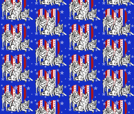 Red White And Blue Norwegian Elkhounds fabric by dogdaze_ on Spoonflower - custom fabric