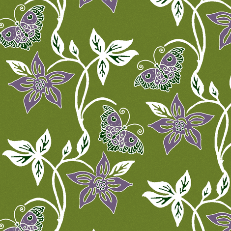Butterflies & Flowers Virtual Batik_white_purple_OLIVE fabric by mina on Spoonflower - custom fabric