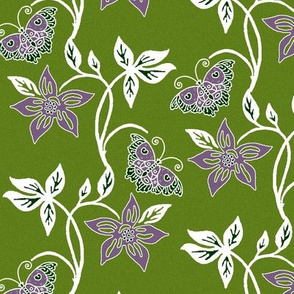 Butterflies & Flowers Virtual Batik_white_purple_OLIVE