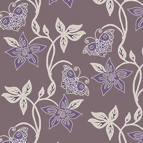 Butterflies & Flowers Virtual Batik_sunset_WARM_TAUPE fabric by mina on Spoonflower - custom fabric