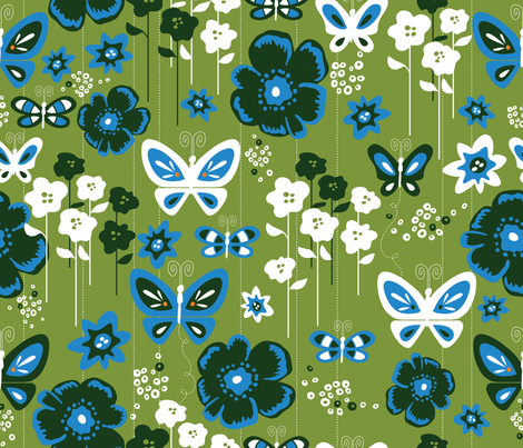 Modern Butterfly Garden fabric by cynthiafrenette on Spoonflower - custom fabric