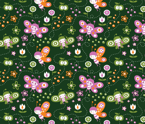 3 butterflies and a an apple  fabric by bora on Spoonflower - custom fabric
