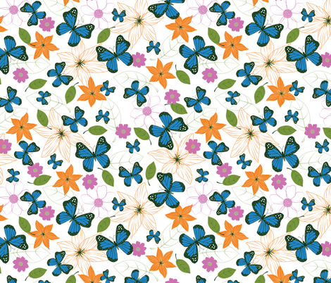 Blue Butterflies fabric by gracedesign on Spoonflower - custom fabric