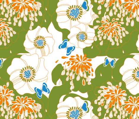 PAPILLON in GREEN fabric by trcreative on Spoonflower - custom fabric