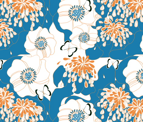 "PAPILLON in ""BLUEBELL & TANGERINE"" fabric by trcreative on Spoonflower - custom fabric"