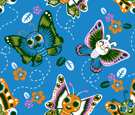 butterflies and moths fabric by irrimiri on Spoonflower - custom fabric