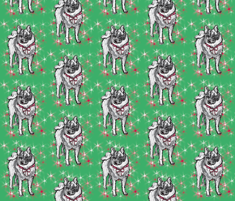 norwegian elkhound Christmas fabric by dogdaze_ on Spoonflower - custom fabric