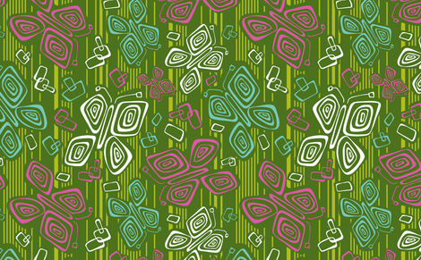 Tiki Time B-Fly fabric by heatherdutton on Spoonflower - custom fabric