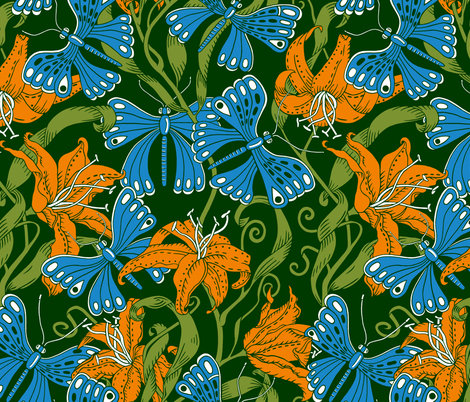 blue butterflies in tiger lilies fabric by uzumakijo on Spoonflower - custom fabric
