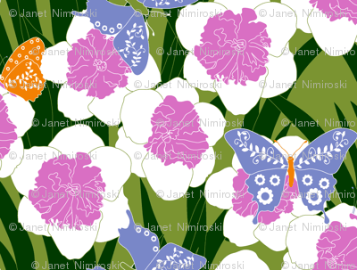 Butterflies and flowers with pink flower centers