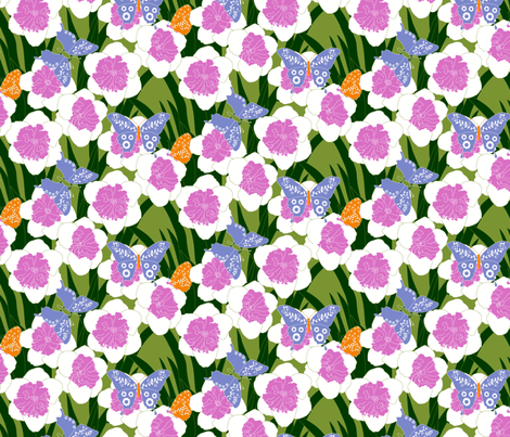 Butterflies and flowers with pink flower centers fabric by beebumble on Spoonflower - custom fabric