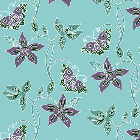 Butterflies & Flowers Virtual Batik_minagreen_eggplant_AQUA_SKY fabric by mina on Spoonflower - custom fabric