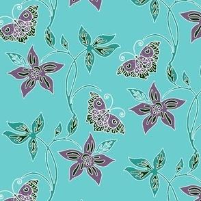 Butterflies & Flowers Virtual Batik_minagreen_eggplant_AQUA_SKY