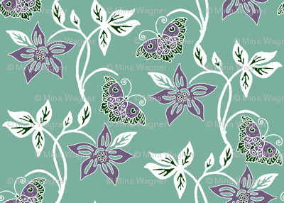 Butterflies & Flowers Virtual Batik_white-eggplant-SAGE_GREYGREEN_160