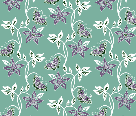 Butterflies & Flowers Virtual Batik_white-eggplant-SAGE_GREYGREEN_160 fabric by mina on Spoonflower - custom fabric