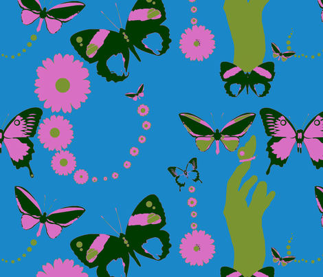 """and Butter -flys Are Free to Fly"" Fly Away..... fabric by sloppy-stiches_by_outsideartist on Spoonflower - custom fabric"