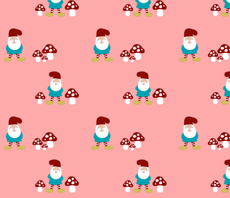 Gnomes and Mushrooms on pink fabric by mayabella on Spoonflower - custom fabric