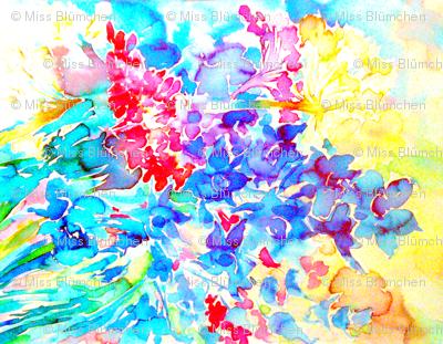 Marias Garden Flowers Crepe de Chine