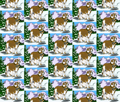 saint_bernard_in_the_mountains fabric by dogdaze_ on Spoonflower - custom fabric