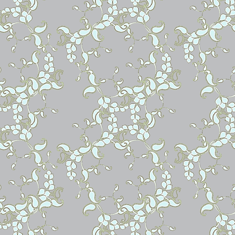 Joan's Antique Moss gray paisley