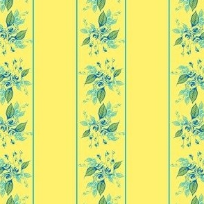 Roses Stripe blue and yellow